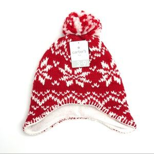 CARTER'S | Fair isle Trapper Hat, Red And White